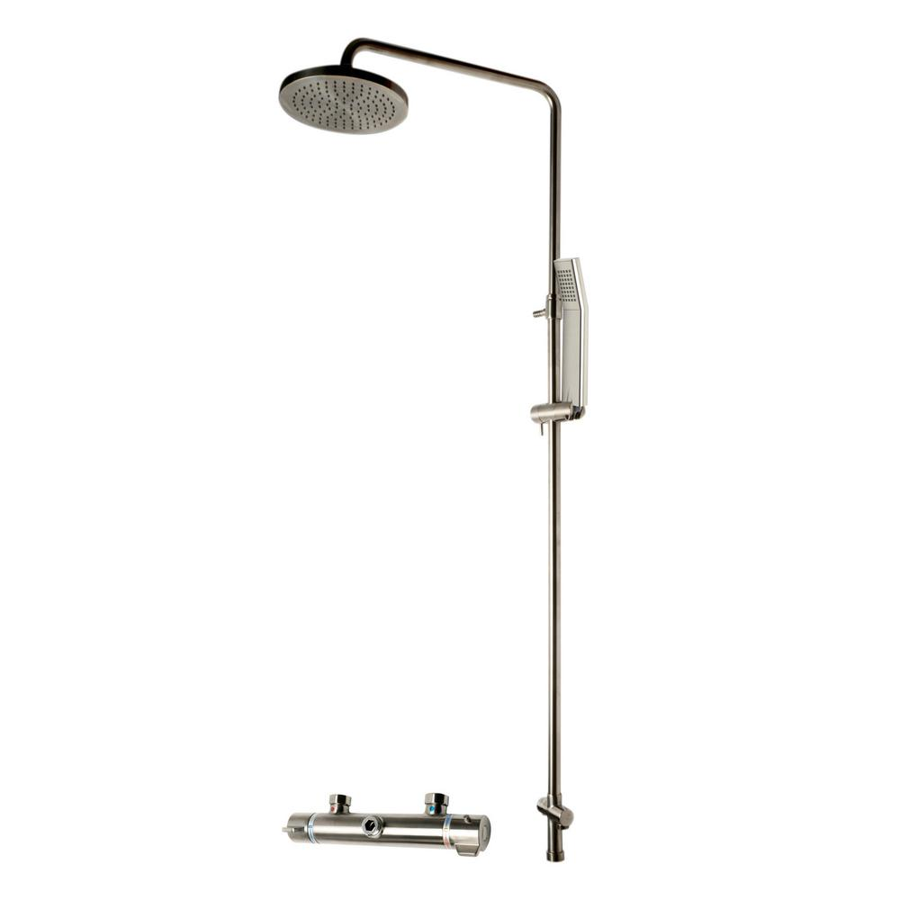 ALFI BRAND 1-Spray Handshower and Showerhead Combo Kit with Temperature Control in Brushed Nickel