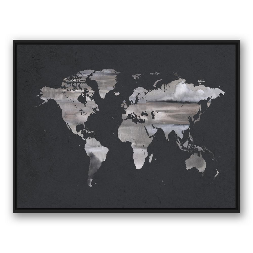 Black And White World Map Framed.Designs Direct 30 In X 40 In Gray Watercolor World Map