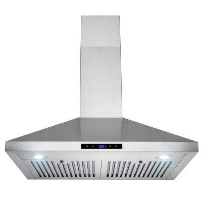 30 in. Convertible Kitchen Wall Mount Range Hood with Lights in Stainless Steel