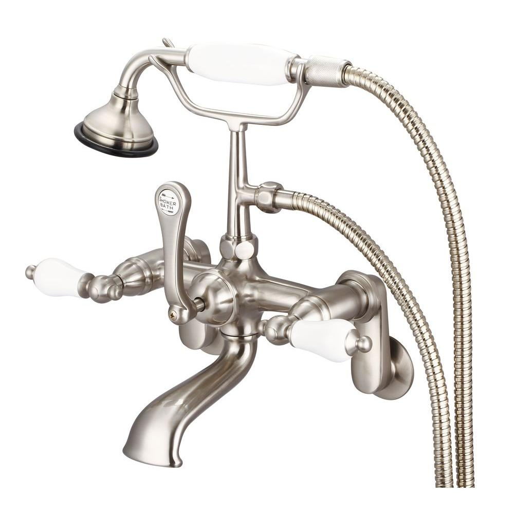 Water Creation 3-Handle Vintage Claw Foot Tub Faucet with Porcelain ...