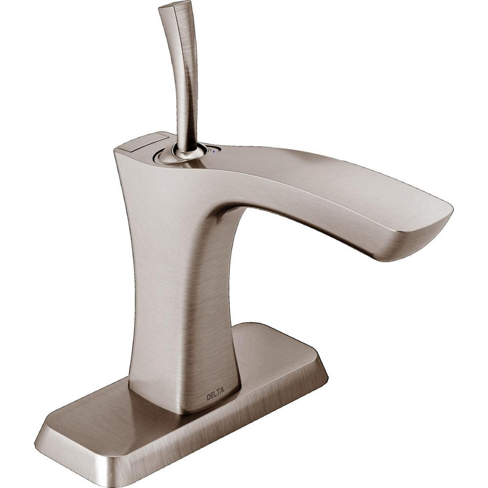 Delta Tesla Single Hole Single-Handle Bathroom Faucet with Metal Drain Assembly in Stainless