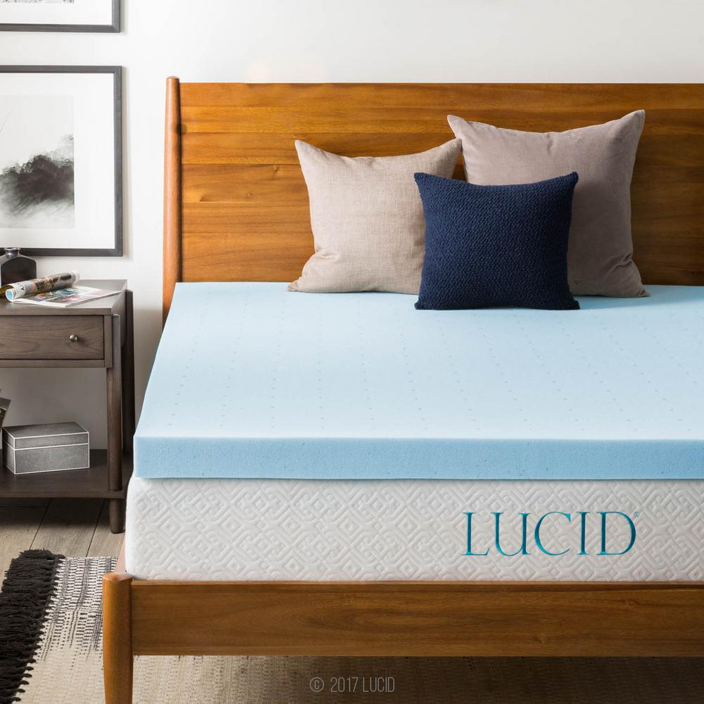 lucid 3 in california king gel memory foam mattress pad lu30ck30gt the home depot. Black Bedroom Furniture Sets. Home Design Ideas