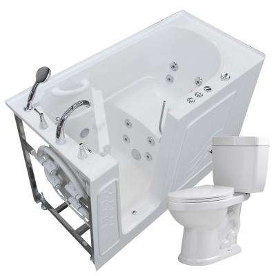 60 in. Walk-In Whirlpool Bathtub in White with 1.6 GPF Single Flush Toilet