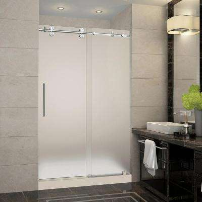 Langham 48 in. x 36 in. x 77.5 in. Completely Frameless Sliding Shower Door with Frosted in Chrome with Center Base