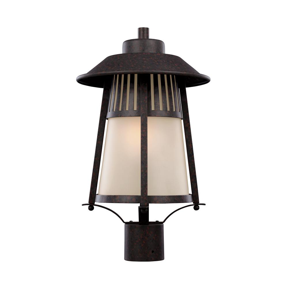 Hamilton Heights 1-Light Outdoor Oxford Bronze Post Light with LED Bulb