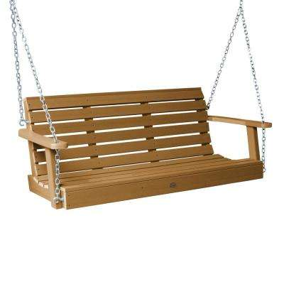 Weatherly 48 in. 2-Person Toffee Recycled Plastic Porch Swing