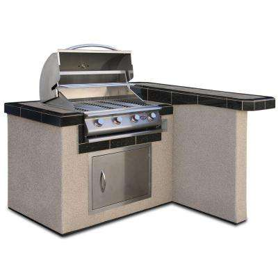 4 ft. Stucco Grill Island with 4-Burner Stainless Steel Propane Gas Grill