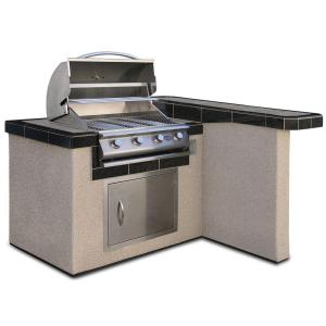 Cal Flame 4 ft. Stucco Grill Island with 4-Burner Stainless Steel ...