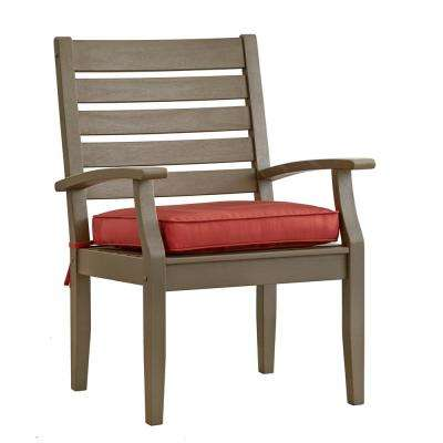 Verdon Gorge Gray Oiled Wood Outdoor Dining Arm Chair with Red Cushion (2-Pack)