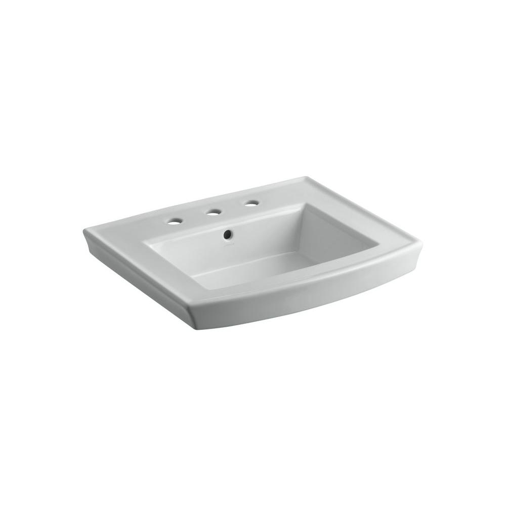 Archer 8 in. Vitreous China Pedestal Sink Basin in Ice Grey