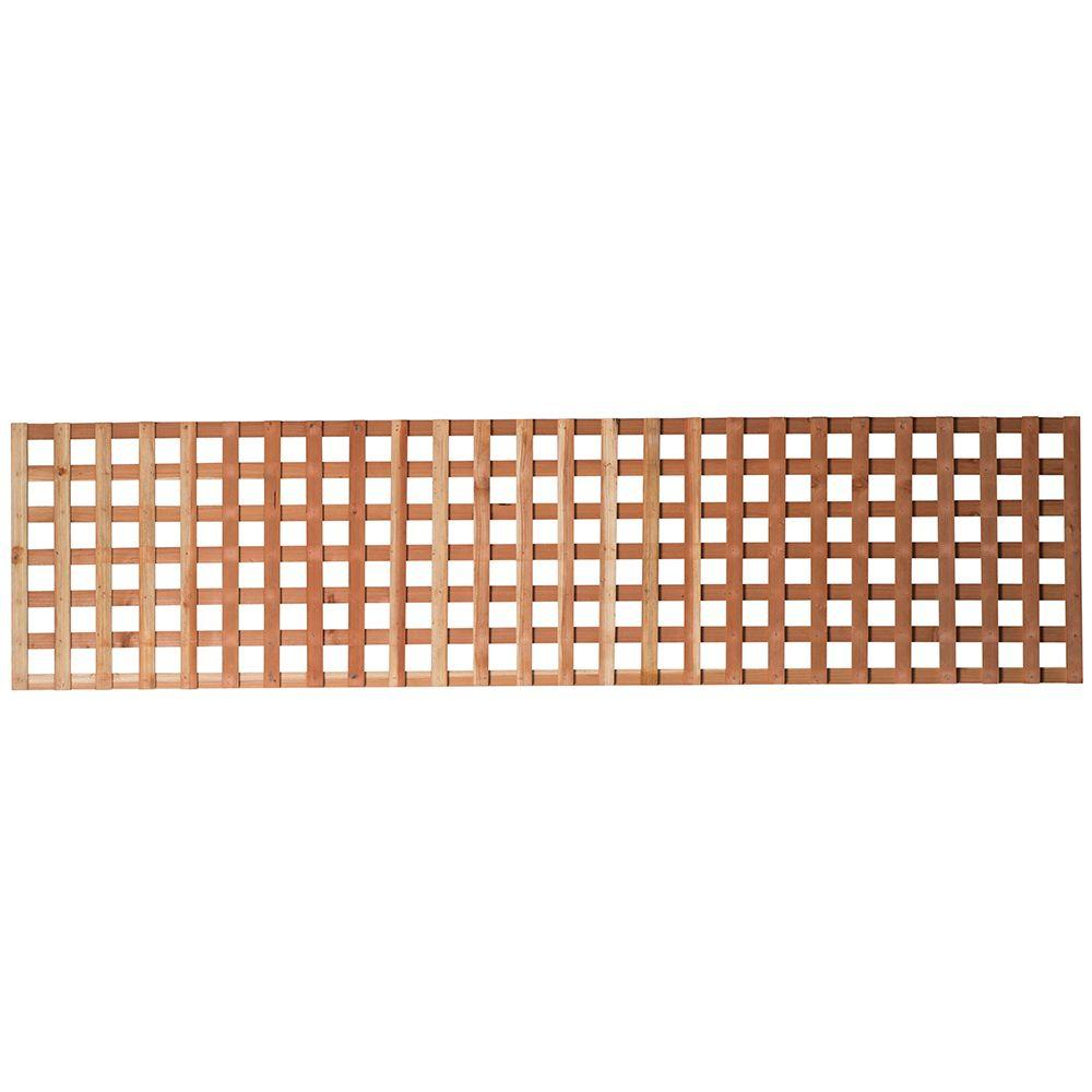 Mendocino Forest Products 1-3/8 in  x 2 ft  x 8 ft  Redwood Square Hole  Privacy Lattice