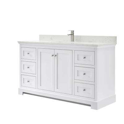 Ryla 60 in. W x 22 in. D Single Bath Vanity in White with Cultured Marble Vanity Top in Carrara with White Basin