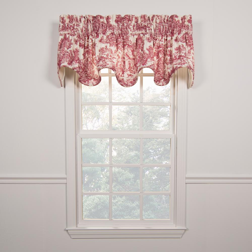 Victoria Park Toile 15 in. L Cotton Scallop Valance in Red