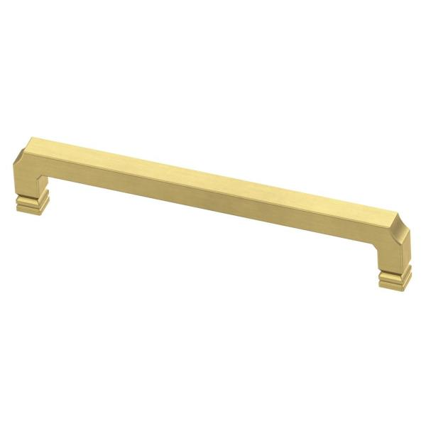 Notched 6-5/16 in. (160mm) Center-to-Center Brushed Brass Drawer Pull