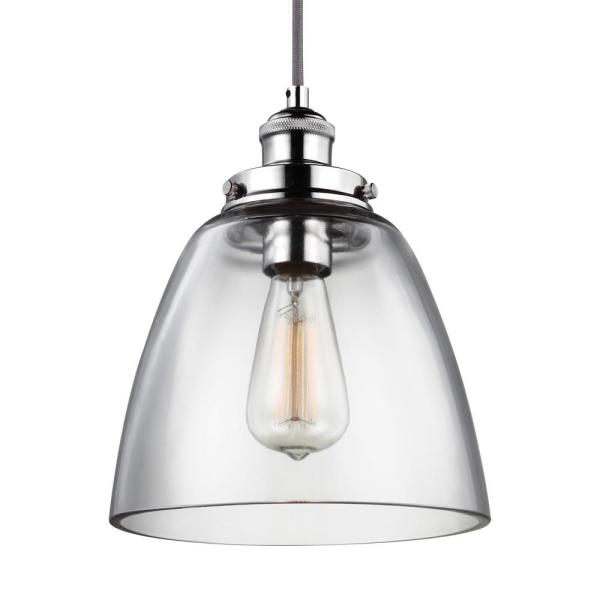 Baskin 9 in. W 1-Light Polished Nickel Contemporary Clear Glass Dome Pendant with Adjustable Gray Cloth Fabric Cord