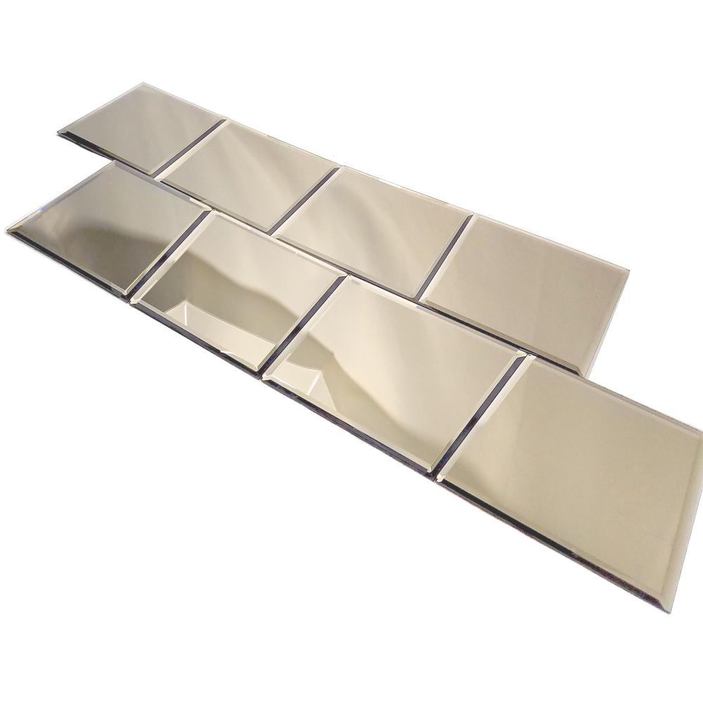 Echo 8 in. x 8 in. Gold Glass Mirror Peel and Stick Decor...