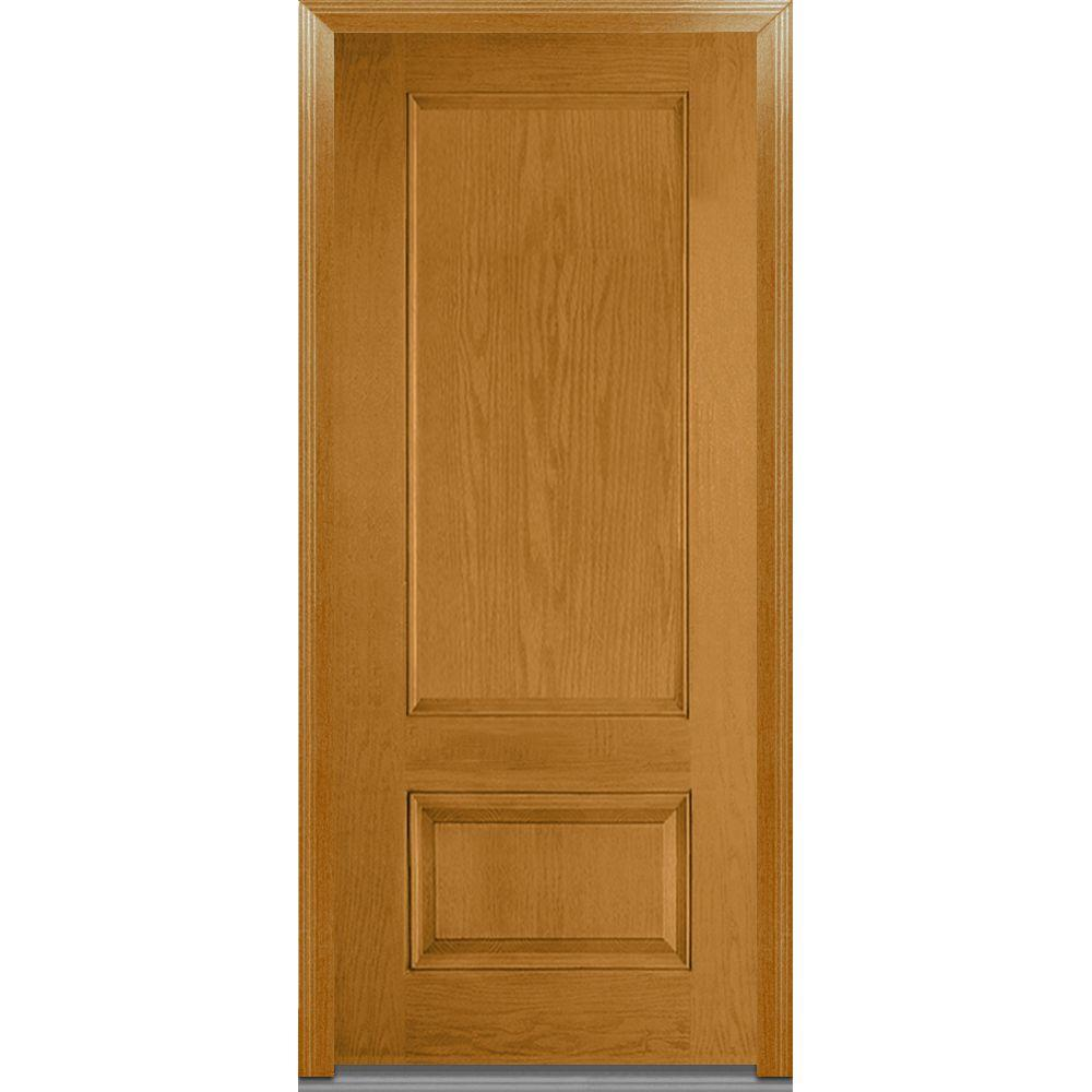 Mmi door 36 in x 80 in severe weather left hand outswing 2 panel stained fiberglass oak 36 x 80 outswing exterior door