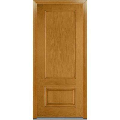 36 in. x 80 in. Severe Weather Right-Hand Outswing 2-Panel Stained Fiberglass Oak Prehung Front Door