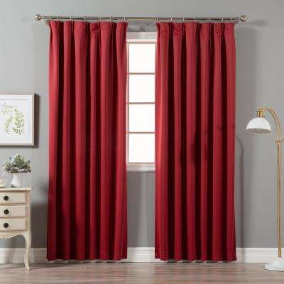 Cardinal Red 96 in. L Blackout Pinch Pleat Curtain Panel (2-Pack)