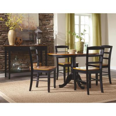 Laurel 5-Piece 36 in. Black/Cherry Extendable Solid Wood Dining Set with Madrid Chairs