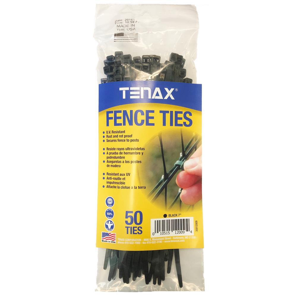 Tenax 1/8 in. x 1/8 in. x 7.5 in. Black Poly Fence Ties (50-Pack)