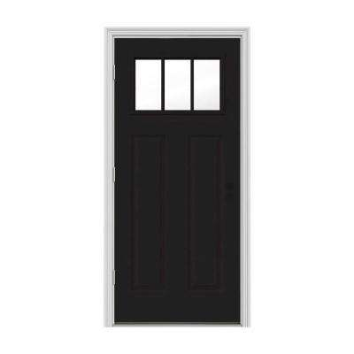 34 in. x 80 in. 3 Lite Craftsman Black Painted Steel Prehung Right-Hand Outswing Front Door w/Brickmould