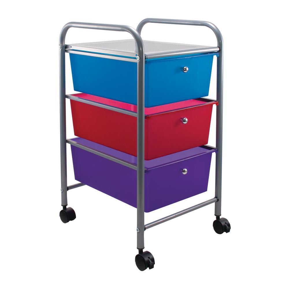 3 Drawer Metal File Organizer Cart In Multi Colors