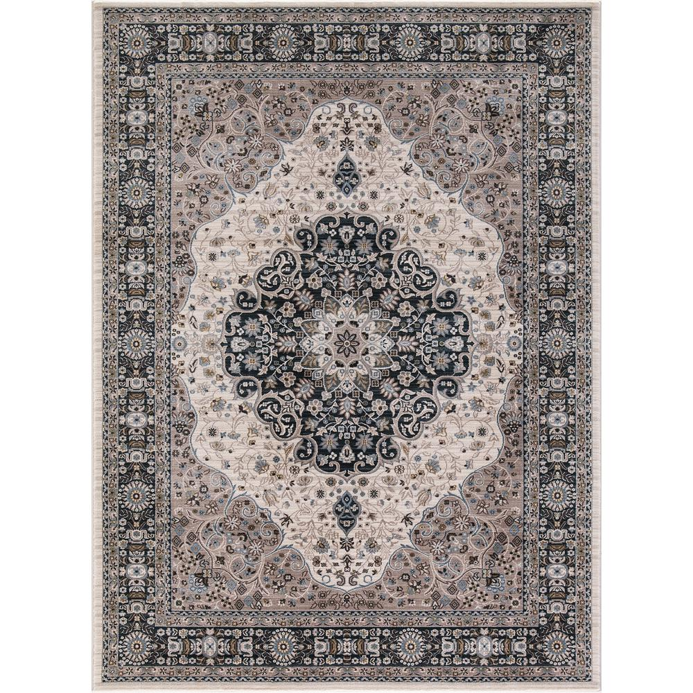 Concord Global Trading Kashan Medallion Ivory 3 Ft In X 4 7 Area Rug 28524 The Home Depot