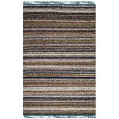 Kilim Gray/Purple 4 ft. x 6 ft. Area Rug