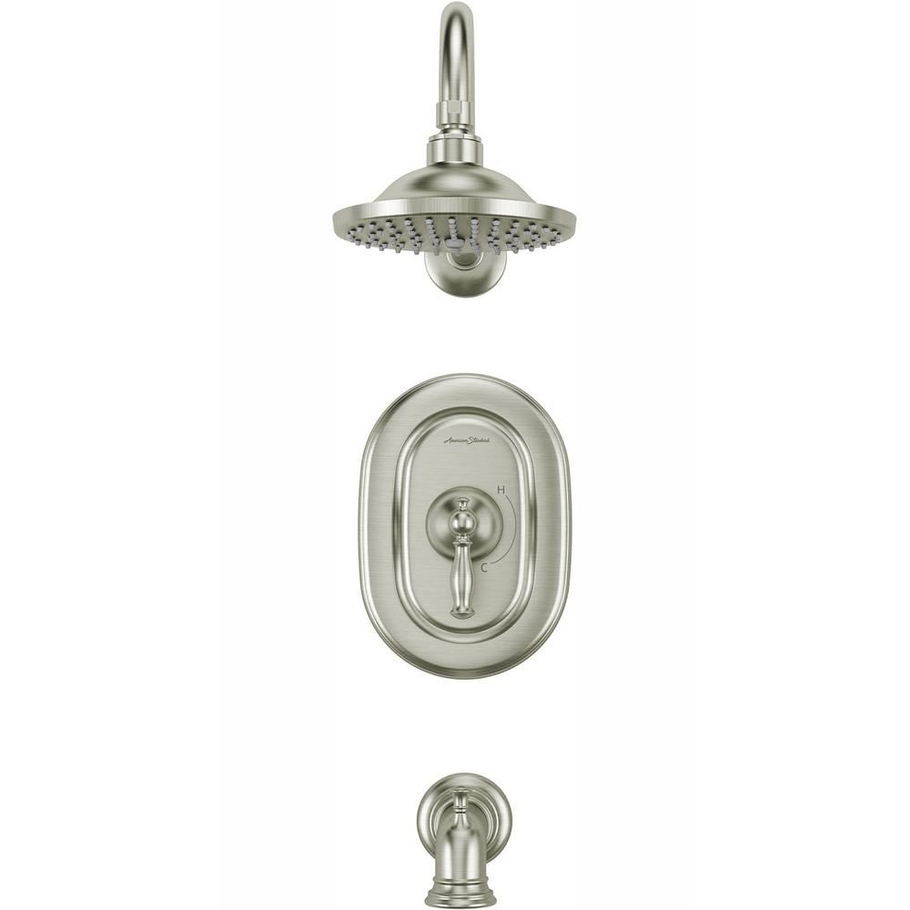 American Standard Quentin 1-Handle Tub and Shower Trim Kit for Flash Rough-in Valves in Brushed Nickel (Valve Not Included)