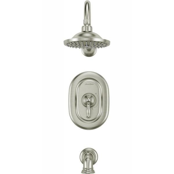 American Standard Quentin 1 Handle Tub And Shower Trim Kit For Flash Rough In Valves In Brushed Nickel Valve Not Included Tu440502 295 The Home Depot