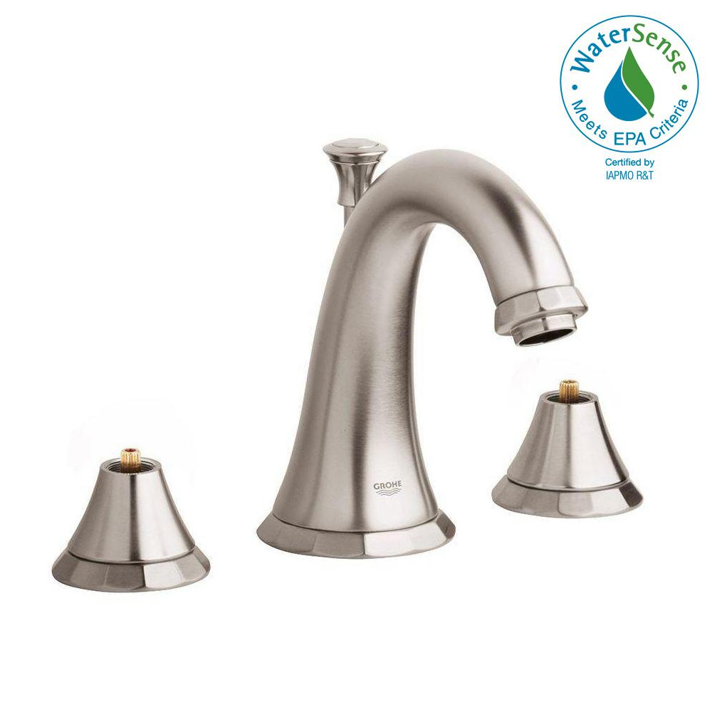Delta Victorian 8 In Widespread 2 Handle High Arc Bathroom Faucet In Chrome 3555lf 216: Delta Porter 8 In. Widespread 2-Handle Bathroom Faucet In Brushed Nickel-35984LF-BN-ECO