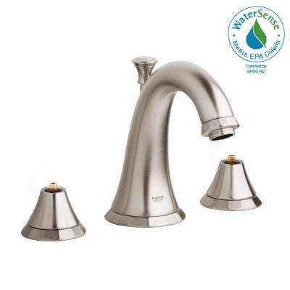 Kensington 8 in. Widespread 2-Handle Bathroom Faucet in Brushed Nickel InfinityFinish (Handles Sold Separately)