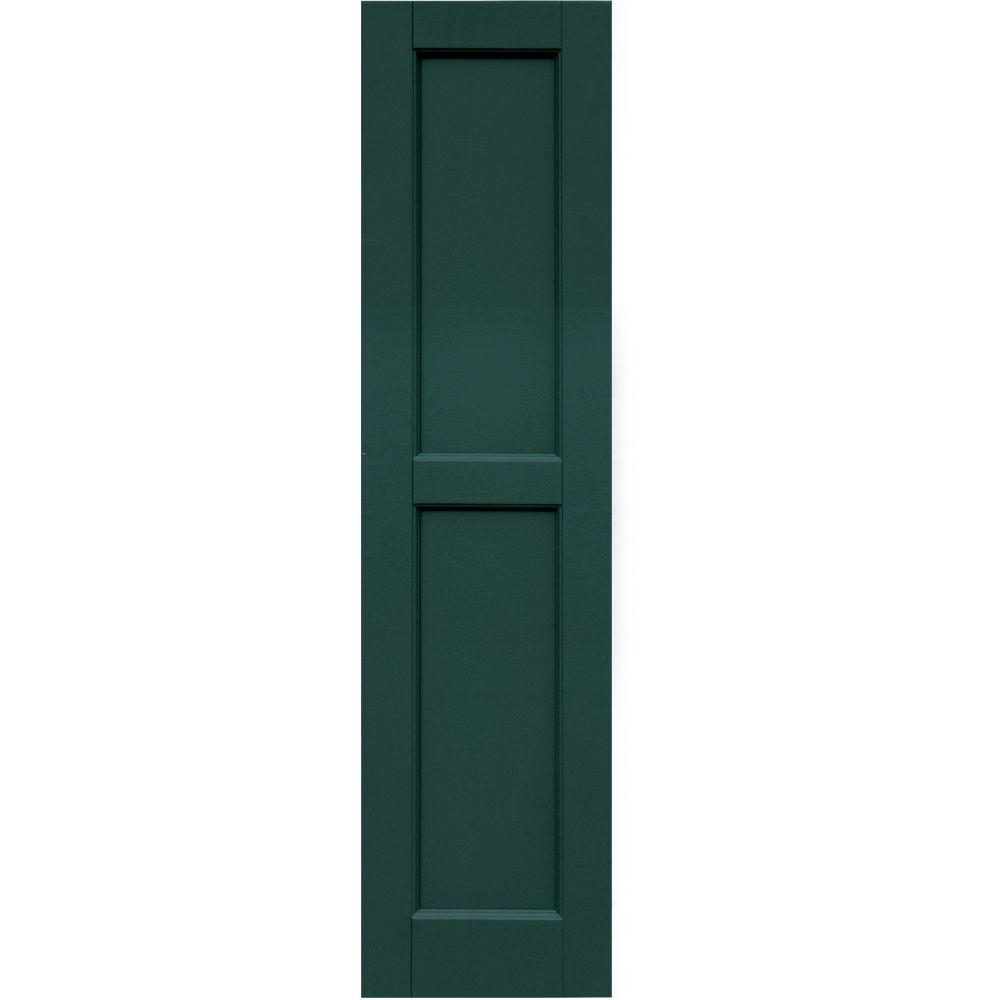 Winworks Wood Composite 12 in. x 48 in. Contemporary Flat Panel Shutters Pair #633 Forest Green