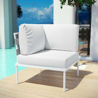 Harmony Patio Aluminum Corner Outdoor Sectional Chair in White with White Cushions