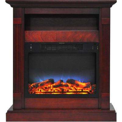 Drexel 34 in. Electric Fireplace with Multi-Color LED Insert and Cherry Mantel