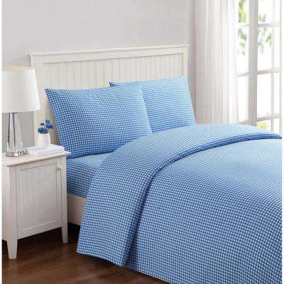 Everyday Gingham Blue Twin Sheet Set