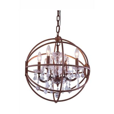 Geneva 5-Light Rustic Intent Chandelier with Clear Crystal