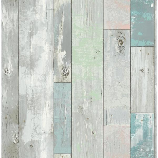 A-Street Deena Turquoise Distressed Wood Wallpaper Sample 2540-20416SAM