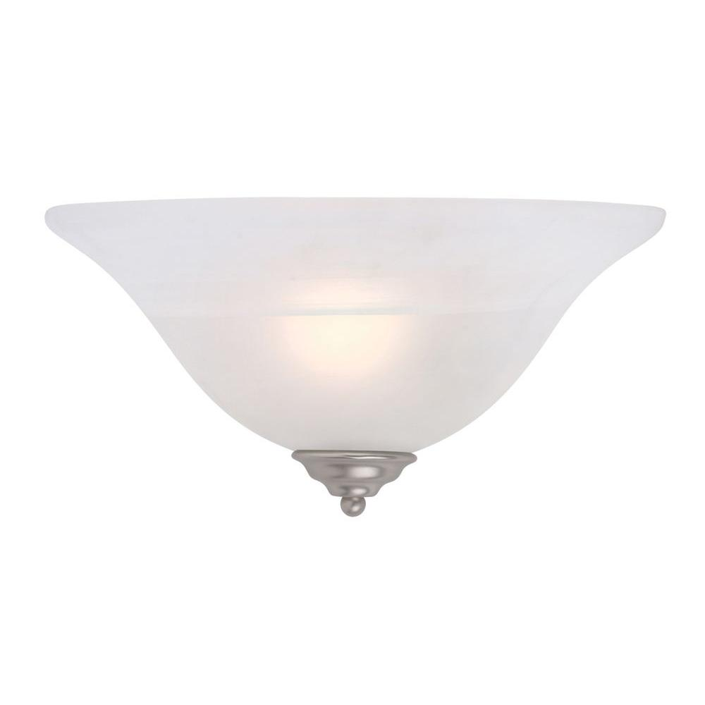 1-Light Brushed Nickel Wall Sconce with White Alabaster Glass Shade