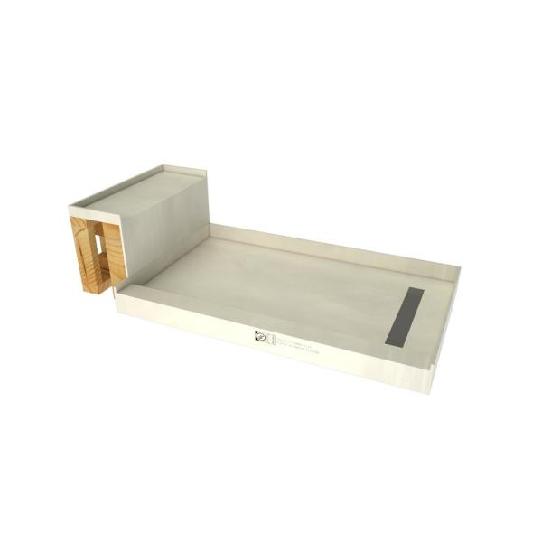 Tile Redi Base N Bench 34 In X 72 In Single Threshold Shower Base And Bench Kit With Right Drain In Solid Brushed Nickel Rt3460r Sbn Rb34 Kit 2 5 The Home Depot