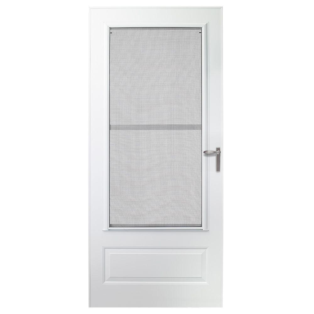 EMCO 32 in. x 80 in. 300 Series White Universal Triple-Track Aluminum Storm Door with Nickel Hardware