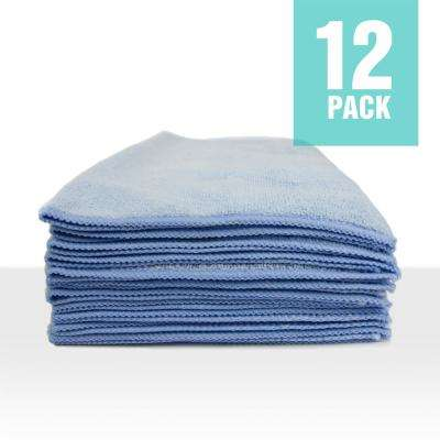 Microfiber Cleaning Cloths,16in. x 16in., Blue (12-Pack)