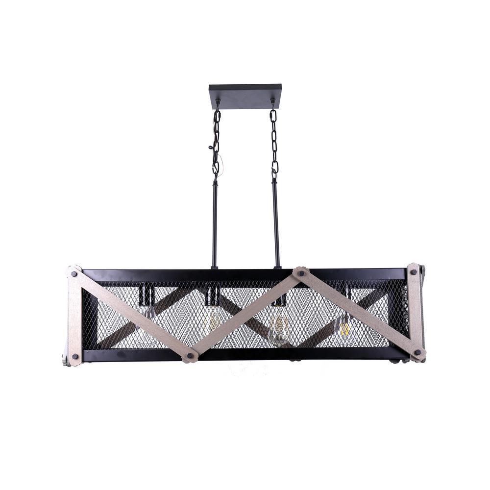 Wood 4-Lights Metal and Wood Pendant