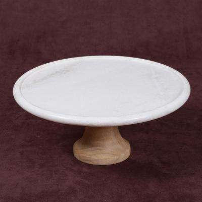 """Taj Elite"" Creamy White Marble with Mango Wood 12 in. Dia x 5.25 in. H Footed Cake Stand"