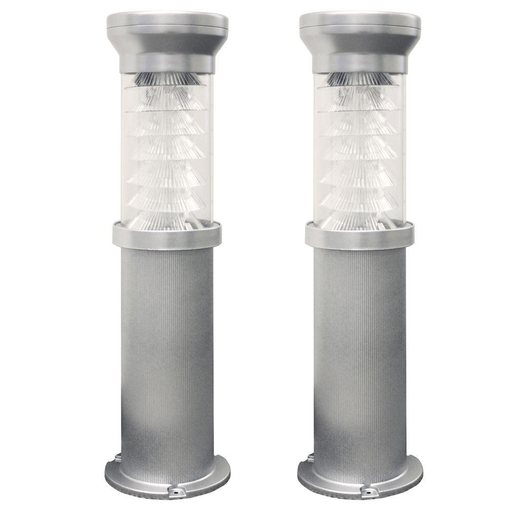 Gama Sonic Silver Solar Bollard Light with EZ Anchor Mounting System 26 in. Tall (2-Pack)