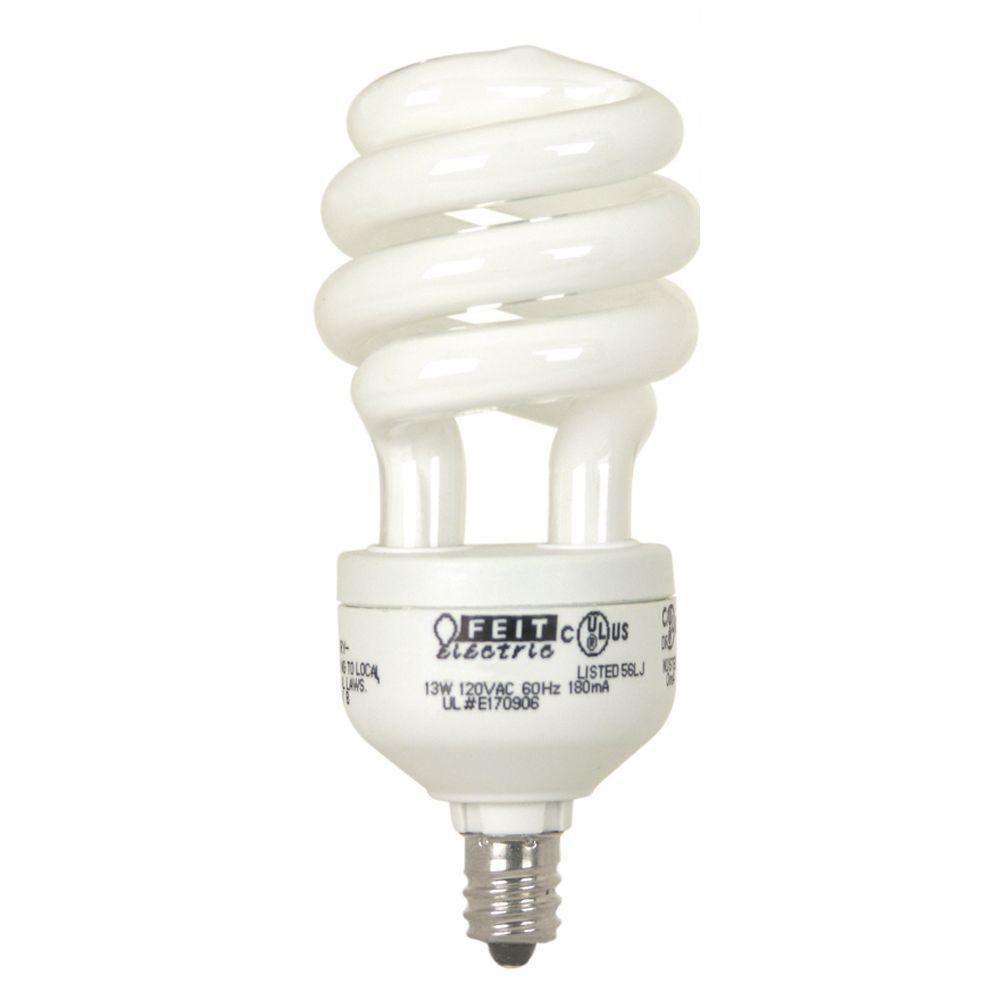 60-Watt Equivalent Soft White Candelabra Base Spiral CFL Light Bulb (2-Pack)