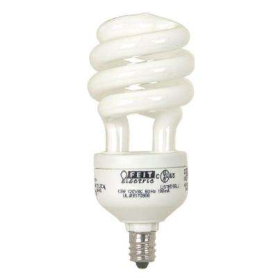 60-Watt Equivalent Soft White Candelabra Base Spiral CFL Light Bulb (2-Pack)