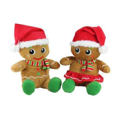 11 in. Plush Sitting Gingerbread Boy and Girl Stuffed Christmas Figures (Set of 2)