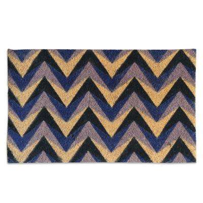 A1HC First Impression Purple Chevron 18 in. x 30 in. Coir Door Mat